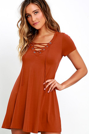 Wonderland Rust Orange Lace-Up Swing Dress at Lulus.com!