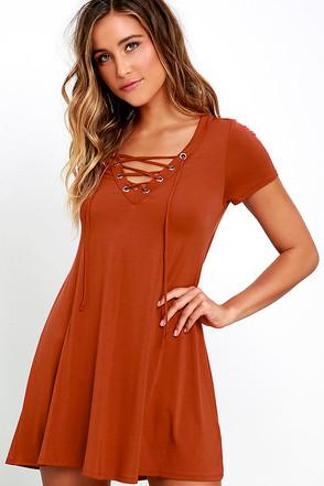 Wonderland Rust Orange Lace-Up Swing Dress at Lulus.com!