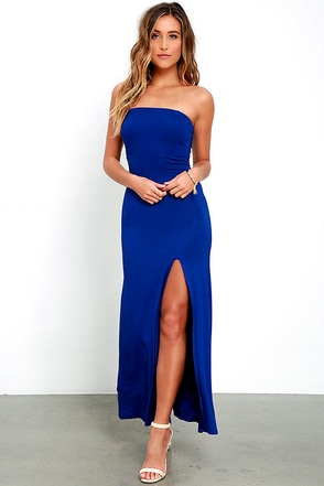 Enchanted Forest Royal Blue Strapless Maxi Dress at Lulus.com!