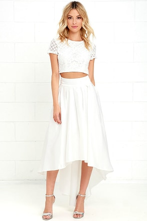 Modern Mystery Ivory Satin High-Low Skirt at Lulus.com!