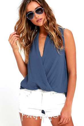 As I Was Saying Denim Blue Top at Lulus.com!