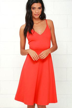 Heard on High Coral Red Midi Dress at Lulus.com!
