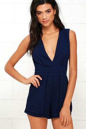 Flirty Talk Navy Blue Backless Romper at Lulus.com!
