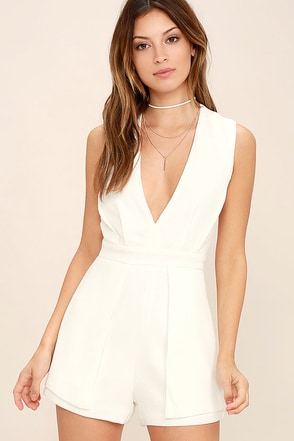 Flirty Talk Ivory Backless Romper at Lulus.com!