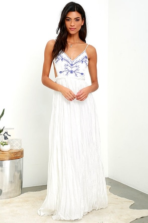 Something to Sprout About Ivory Embroidered Maxi Dress at Lulus.com!
