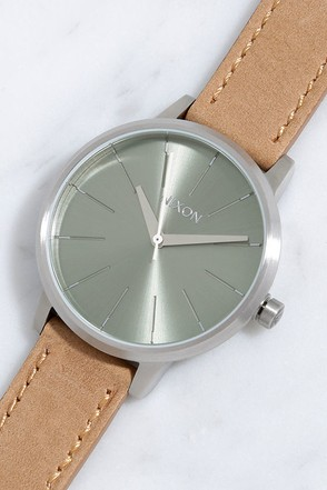 Nixon Kensington Leather Rose Gold and Navy Watch at Lulus.com!
