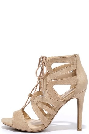 Holds True Natural Suede Lace-Up Heels at Lulus.com!
