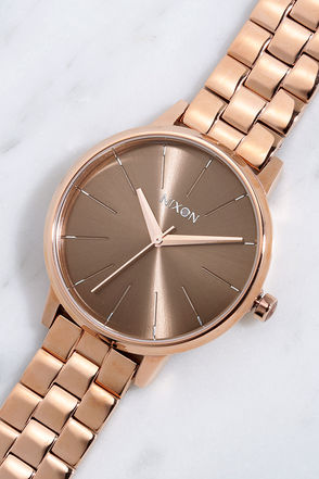 Nixon Kensington Rose Gold and Taupe Watch at Lulus.com!