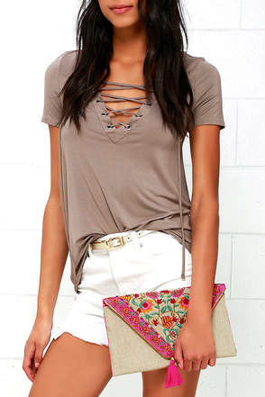 Life is a Carnival Fuchsia and Beige Beaded Clutch at Lulus.com!