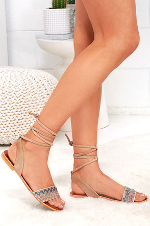 Steve Madden Shaney Blush Multi Leather Beaded Sandals at Lulus.com!