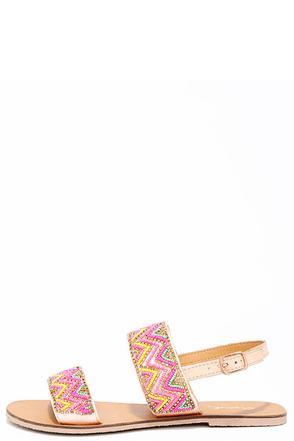 Rio de Janeiro Tan Beaded Flat Sandals at Lulus.com!