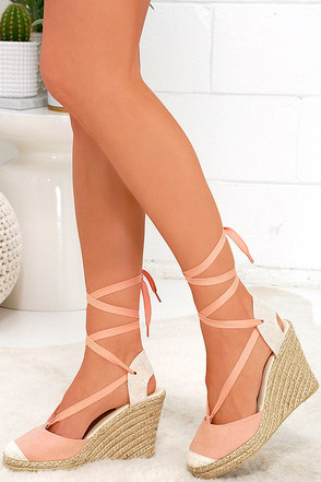 Light-Footed Melon Pink Suede Espadrille Wedges at Lulus.com!