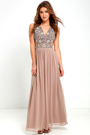 TFNC Lace & Beads Vera Taupe Beaded Maxi Dress at Lulus.com!