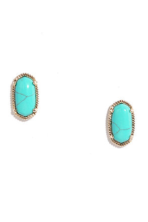Clever Clue Gold and Turquoise Earrings at Lulus.com!