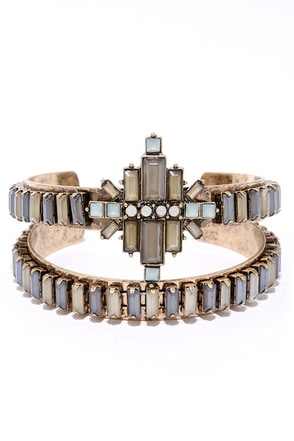 Deco-ed Out Gold and Grey Rhinestone Bracelet Set at Lulus.com!