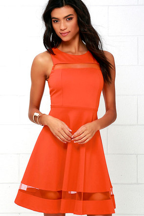 Sheer Determination Orange Mesh Skater Dress at Lulus.com!