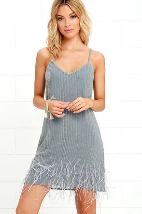TFNC Lace & Beads Texas Grey Beaded Feather Dress at Lulus.com!