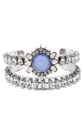 Temple of the Sun Silver and Blue Rhinestone Bracelet Set at Lulus.com!