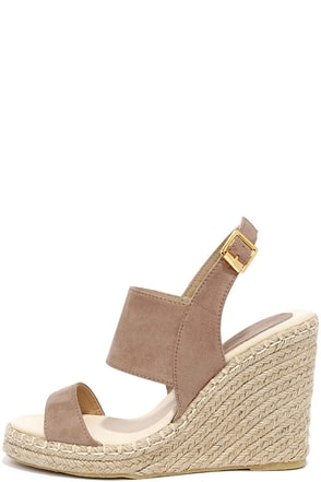 Cruising Along Taupe Suede Wedge Sandals at Lulus.com!