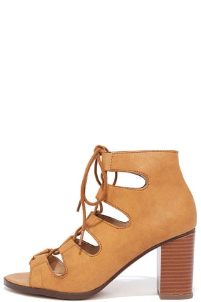 City Sights Tan Lace-Up Heels at Lulus.com!