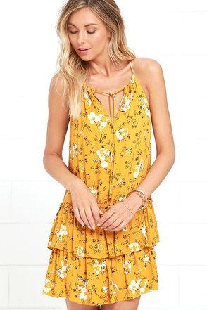 Flower of Love Golden Yellow Floral Print Dress at Lulus.com!