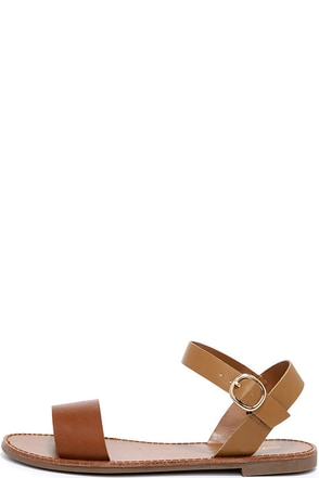 Hearts and Hashtags Tan Flat Sandals at Lulus.com!