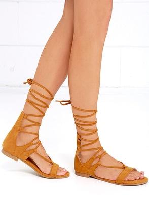 Early Explorer Camel Lace-Up Gladiator Sandals at Lulus.com!