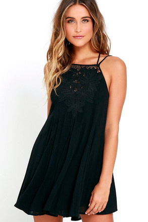 Tulip Talk Black Embroidered Dress at Lulus.com!