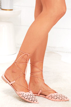 Talk of the Town Melon Pink Suede Lace-Up Flats at Lulus.com!