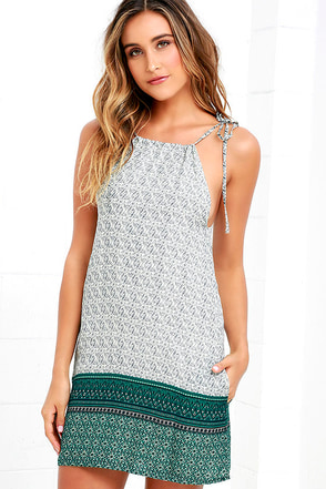 Mountain Fest Cream and Teal Green Print Swing Dress at Lulus.com!
