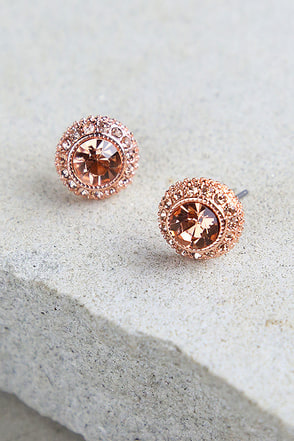 Realized Potential Rose Gold Rhinestone Earrings at Lulus.com!