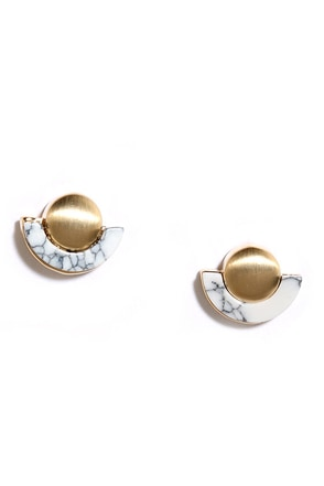 Merveille Gold and Ivory Earrings at Lulus.com!