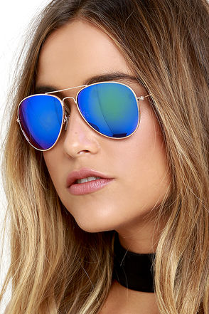 Breaking Waves Gold and Blue Mirrored Sunglasses at Lulus.com!