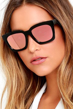 Party On Black and Pink Mirrored Sunglasses at Lulus.com!