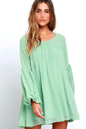 Gentle Breeze Sage Green Babydoll Dress at Lulus.com!