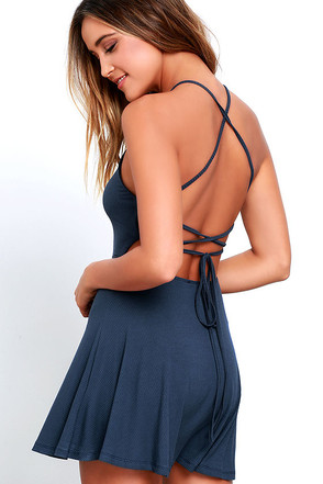 Tied Together Denim Blue Lace-Up Dress 1