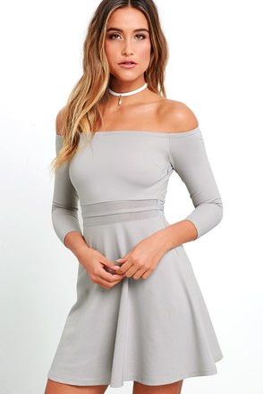 Yes to the Mesh Grey Skater Dress at Lulus.com!