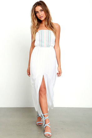 Element Eden Dive In Ivory Maxi Dress Embroidered