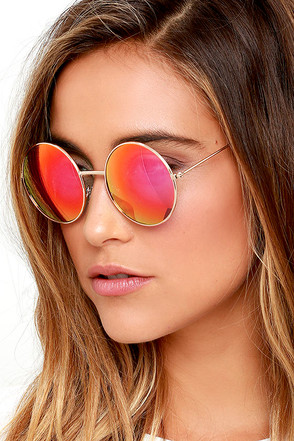 Totally Buggin' Gold and Pink Mirrored Sunglasses at Lulus.com!