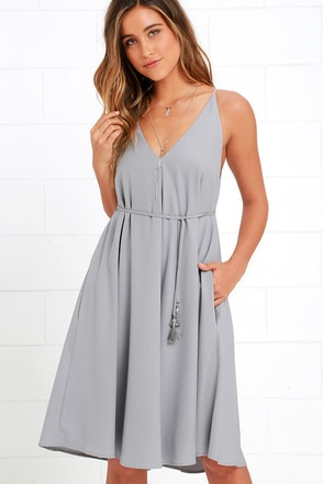 Whoa Nelly Grey Midi Dress at Lulus.com!