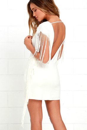 Sway the Word Ivory Backless Fringe Dress at Lulus.com!