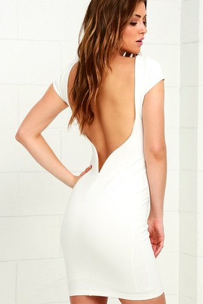Daring Dame Ivory Backless Bodycon Dress at Lulus.com!