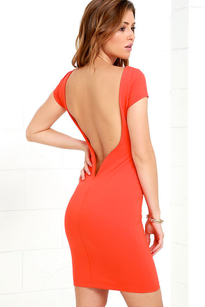 Daring Dame Coral Red Backless Bodycon Dress at Lulus.com!