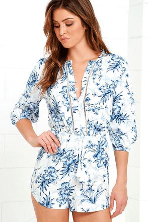 Rhythm Hanalei Blue Floral Print Romper at Lulus.com!