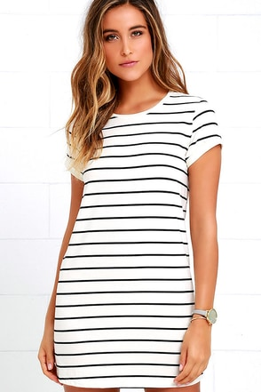 Cafe Society Black and Cream Striped Shirt Dress at Lulus.com!