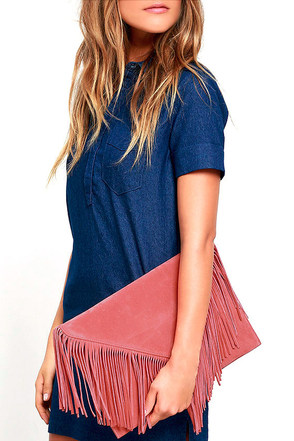 Hot Second Tan Suede Fringe Clutch at Lulus.com!