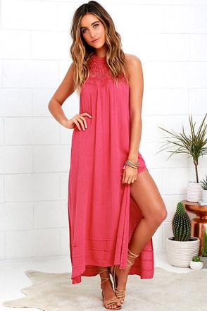 Billabong Midsummer Tides Coral Pink Halter Maxi Dress at Lulus.com!