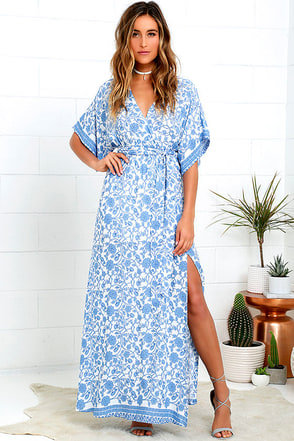 Wherefore Art Thou Blue Floral Print Maxi Dress at Lulus.com!