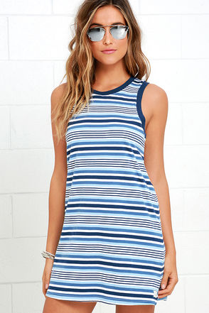 Rhythm The Strokes Blue Multi Striped Dress at Lulus.com!