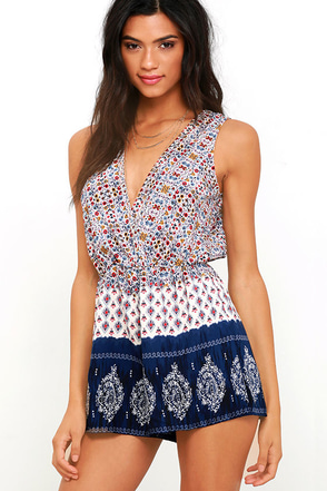 Hills and Valleys Navy Blue Print Romper at Lulus.com!